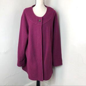 Lands' End 100% Wool Purple Cardigan Jacket 20W